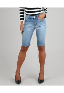Bermuda Jeans Feminina Ciclista Com Bolsos Azul Claro