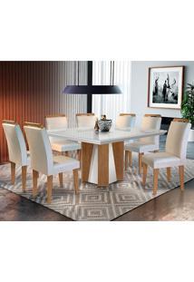 Conjunto De Mesa Para Sala De Jantar Quadrada Com 8 Cadeiras Helena/Athenas-Rufato - Veludo Creme / Off White / Imbuia