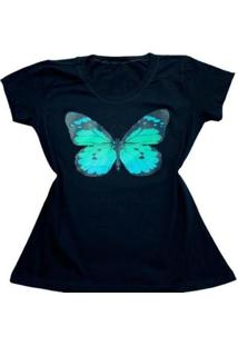 Camiseta Borboleta Feminina - Feminino-Preto