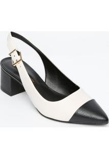 Sapato Chanel Com Recorte Sobreposto - Branco & Preto