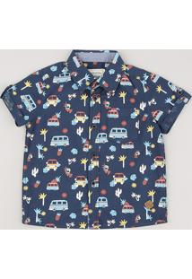 Camisa Infantil Estampada De Carros Com Bolso Manga Curta Azul Marinho