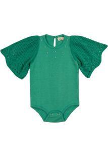 Body Infantil Tricô Alfazema Mini Lady Feminino - Feminino-Verde