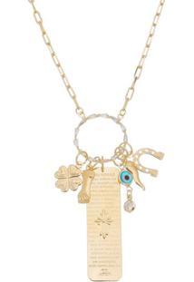 Colar Com Cristal & Amuletos Banhado Á Ouro- Douradocarolina Alcaide