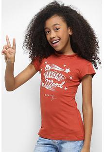 Camiseta Infantil Colcci Fun Estonada Feminina - Feminino-Laranja