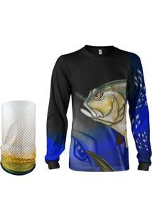 Camisa + Máscara Pesca Quisty Xaréu Surfista Azul Proteção Uv Dryfit Infantil/Adulto - Camiseta De Pesca Quisty