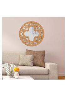 Escultura De Parede Wevans Mandala Abstrato, Madeira + Espelho Decorativo Único