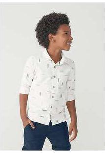 Camisa Manga Longa Menino Em Tecido De Algodão Off-White