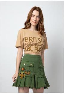 Cropped T-Shirt Estampada Lança Perfume Feminino - Feminino-Bege