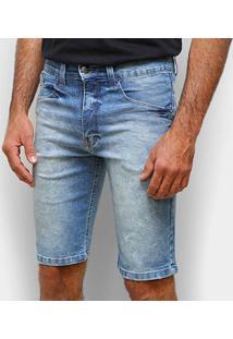 Bermuda Jeans Hd Estonada Masculina - Masculino-Azul