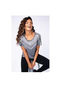T-Shirt Joulik Bordada Zínia - Prata