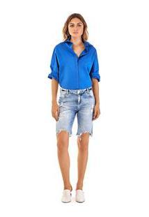 6e86d9f38 Morena Rosa. Bermuda Ciclista Com Puidos Jeans