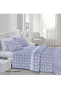 Edredom Fantasia Lino Casal- Azul & Branco- 190X220Csantista