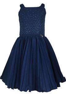 Vestido Katitus Juvenil Plissado Azul