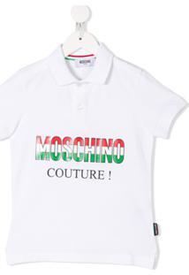 Moschino Kids Italian Logo Print Polo Shirt - Branco