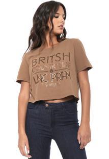 Camiseta Cropped Lança Perfume Britsh Marrom