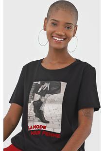 Camiseta Sommer La Mode Preta - Preto - Feminino - Algodã£O - Dafiti