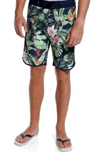Bermuda John John D'Água Wildflowers Praia Estampado Masculina (Estampado, 42)