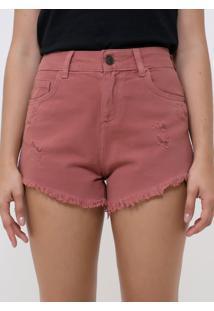 Short Cintura Média Em Jeans Com Puídos