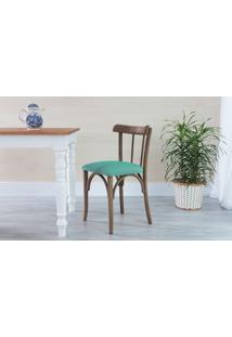 Cadeira Para Cozinha Estofada Justine - Stain Nogueira - Tec.950 Turquesa - 43X47,5X78,5 Cm