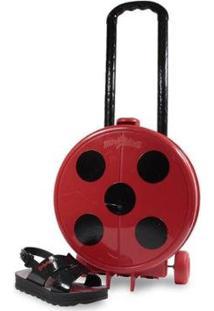 Sandália Infantil Grendene Ladybug Com Bolsa De Rodinhas Feminina - Feminino-Preto