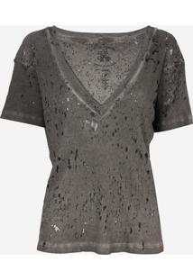 Camiseta John John Super V Grey Malha Cinza Feminina (Cinza Escuro, Pp)