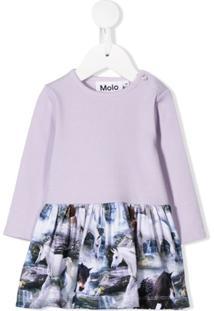 Molo Kids Vestido Com Estampa De Criaturas Míticas - Roxo
