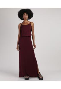 Vestido Feminino Básico Longo Blusê Alça Fina Vinho