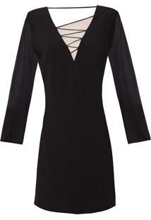 Vestido Recortes Tiras - Preto