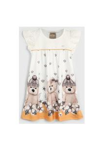 Vestido Milon Infantil Urso Off-White