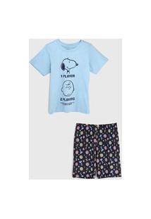 Pijama Tricae Por Snoopy Curto Infantil Charlie Brown Tal Pai Tal Filho Azul/Azul-Marinho