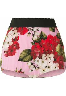 Dolce & Gabbana Short De Seda Estampado - Rosa