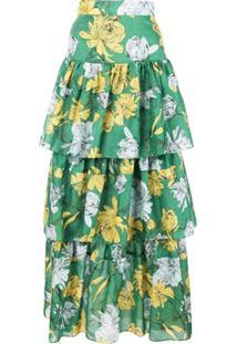 Alexis Saia Longa Com Estampa Floral - Verde