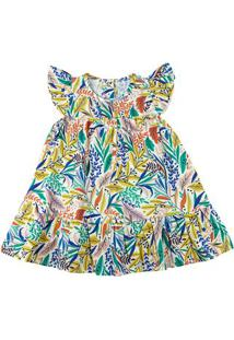Vestido Infantil Tricoline Estampa Digital Folhas Coloridas - Natural 2