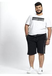 Bermuda Moletom Masculina Plus Size Bolsos - Masculino-Preto