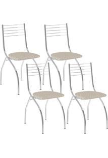 Cadeira Carraro 146 Cromado,Metalizado Retrô 4 Cadeiras