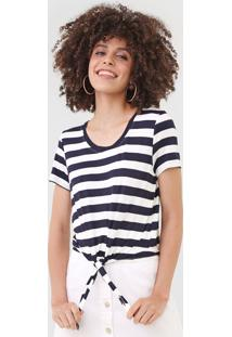 Camiseta Only Onlari Azul-Marinho/Off-White