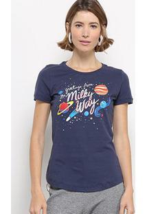 Camiseta Hapuna Estampada Feminina - Feminino-Marinho