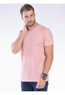 Camiseta Manga Curta Rosa Claro Básica
