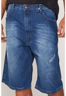 Bermuda Hd Plus Size Jeans Regular Confort Fit Masculino - Masculino-Azul