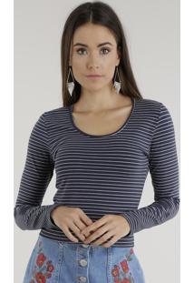 Blusa Cropped Listrada Azul Marinho
