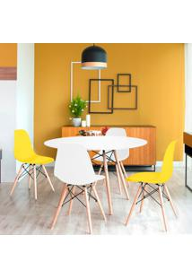 Conjunto De Mesa De Jantar Com 4 Cadeiras Eames Eiffel Premium Branco E Amarelo
