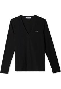 Camisa Lacoste Feminino - Feminino-Preto