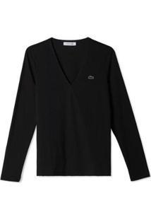 Camiseta Lacoste Feminina - Feminino-Preto