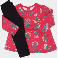 7be854319f Conjunto Infantil Kyly Blusa Estampada + Calça Moletom Feminino - Feminino- Rosa+Preto