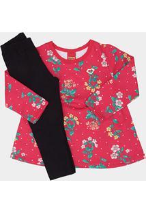 Conjunto Infantil Kyly Blusa Estampada + Calça Moletom Feminino - Feminino-Rosa+Preto