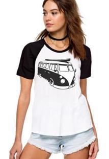 Camiseta Feminina Raglan Kombi - Feminino-Cinza