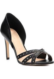 1c756eff6 Peep Toe Couro Shoestock Salto Fino Tiras Cravos - Feminino