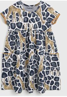 Vestido Nanai By Kyly Infantil Girafa Cinza/Azul-Marinho