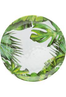 Sousplat Folhas- Branco & Verde- Ø41Cm- Rojemacbon Gourmet