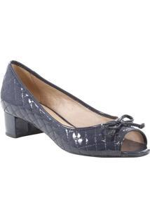Peep Toe Com Laço- Cinza Escuro- Salto: 3,5Cmarezzo & Co.